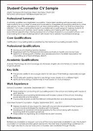 resume templates for students in student counsellor cv sle myperfectcv