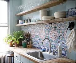 Tin Tiles For Kitchen Backsplash Moroccan Patterned Blue Tiles Kitchen Backsplash Combined With