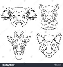 geometric vector set koala hippo puma stock vector 384363706