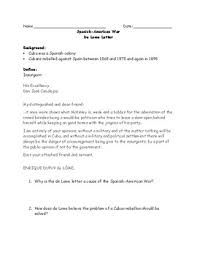 spanish american war de lome letter adapted worksheet and