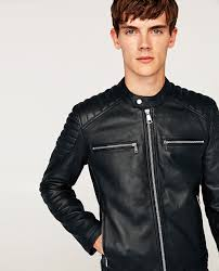 biker jacket leather biker jacket with zips view all jackets man zara