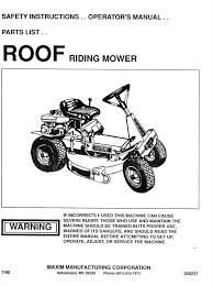 maxim lawn mower riding mower user guide manualsonline com