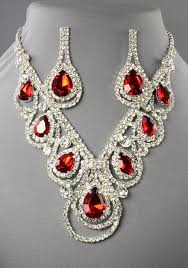 necklace rhinestone images Rhinestone necklace drop style red silver 105532rd 24 99 jpg
