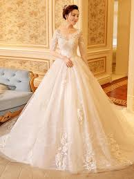 wedding dresses with sleeves scoop neck half sleeve appliques lace gown wedding dress