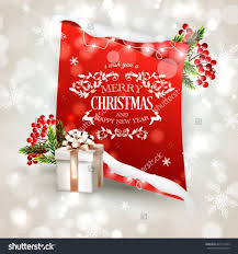 Happy New Year Invitation Merry Christmas And Happy New Year Invitation Template With Gift