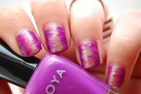sarah lou nails purple u0026 gold blended nails