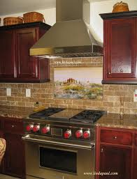 Brown Subway Tile Backsplash by Tuscan Tile Murals Kitchen Backsplashes Tuscany Art Tiles