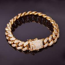 cuban link bracelet gold images Classic iced out cuban link bracelet gold 14mm jewelry world shine jpg