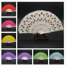 held fans for wedding embroidered fabric folding held fan wedding party