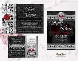 sugar skull wedding invitation set gothic wedding day of the