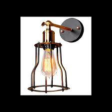 Edison Wall Sconce Metal Industrial Mini Wire Cage Edison Wall Sconce Wall Lamp Light