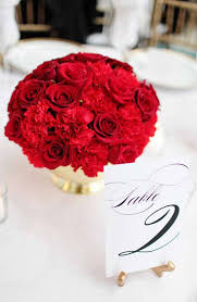 Carnation Flower Ball Centerpiece by Bella Fiori Red Rose And Carnation Centerpiece Set In A Gold