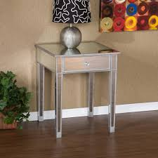 Mirrored Bedside Tables Small And Narrow Modern Square Mirrored Bedside Table With