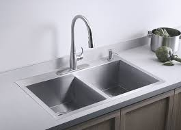 kohler k 3820 4 na double basin kitchen sink with four hole faucet