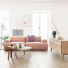 No Sofa Living Room Soft Modern Pink Sofa With No Legs Bleds This Scandinavian Room