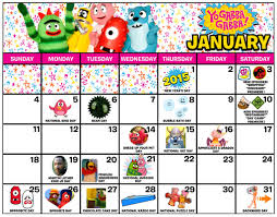 yo gabba gabba january 2015 calendar yo gabba gabba live
