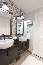 bathroom with vessel sinks and mosaic backsplash tiles stunning