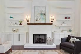fireplace mantel shelves living room modern with retro draperies