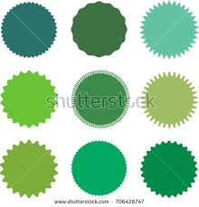 types of green color set vector starburst sunburst badges different stock vector