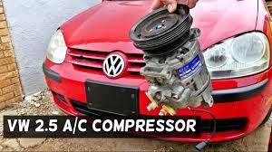 rabbit volkswagen 2006 vw rabbit jetta 2 5 ac compressor replacement removal youtube
