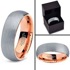 gold wedding band mens tungsten wedding band ring 7mm for men women comfort fit 18k