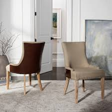 Safavieh Dining Chairs Safavieh Becca Antique Gold And Brown Linen Bicast Leather Dining
