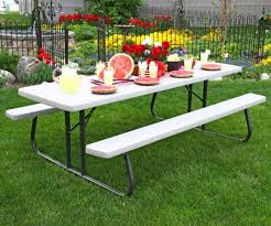 Commercial Picnic Tables And Benches Lifetime Folding Picnic Tables 480123 Putty Color Commercial 8 U0027 4 Pack