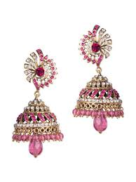 pink earrings jhumki style pink earrings buy online at a price of rs 933 only