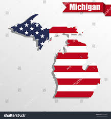 Michigan State Map by Michigan State Map Us Flag Inside Stock Vector 421476085