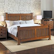 wood slat mission hills wood low profile panel bed in harvest humble abode