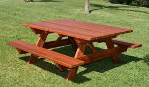 Plans For Picnic Table With Attached Benches by Redwood Picnic Table Customize Your Redwood Table