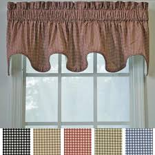 Overstock Kitchen Curtains by Ellis Curtain Checkered Scallop Valance 15 X 70 Free Shipping