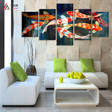 china home decor aliexpress com buy 5 panel canvas prints koi fish art chinese