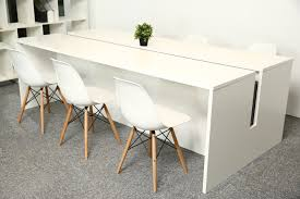 Modern Meeting Table Minimalist Rectangle Solid Wood White Conference Table Square