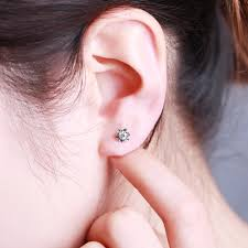earring on ear zocai 0 22 ct certified diamond flower lotus earrings