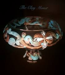 Polymer Clay Vases Chocolate U0026 Turquoise Polymer Clay Centerpiece Vase The Clay Monet