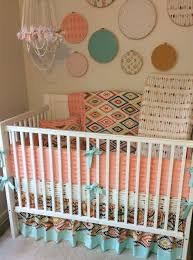 girls crib bedding aztec baby bedding in peach mint and gold with arrows