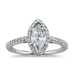 marquise cut halo diamond engagement ring in 14k white gold blue