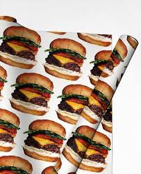 cheeseburger wrapping paper food drinks gift wrapping paper juniqe