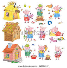 pigs fairy tale stock illustration 612892337