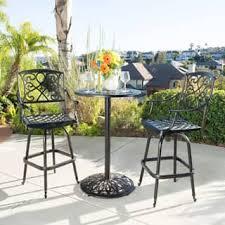 Copper Bistro Chair Santa Maria Shiny Copper Cast Aluminum 3 Piece Bistro Bar Set By