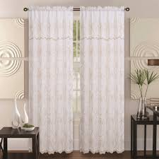 Linen Valance Window Curtain Double Layer Embroidery Floral Sheer Linen Front