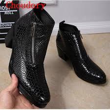 choudory fashion black square toe mens shoes high heels ankle