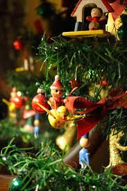 fashioned ornaments on a tree stock photo image
