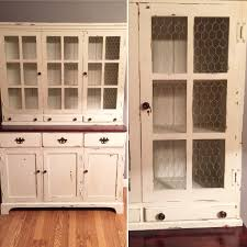 china hutch chicken wire doors window chalkpainted valspar chalky