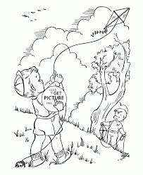 launch a kite coloring page for kids spring coloring pages