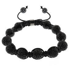 beaded black bracelet images Iced out 10mm black beaded adjustable bracelet strand jpg