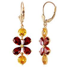 Citrine Chandelier Earrings 5 32 Carat 14k Solid Gold Chandelier Earrings Garnet Citrine Ebay