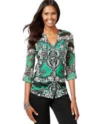 paisley blouse inc international concepts paisley print rhinestone button shirt