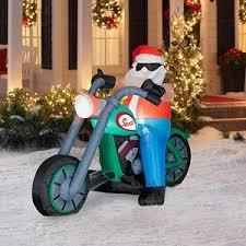 christmas inflatables outdoor airblown santa on chopper outdoor decor